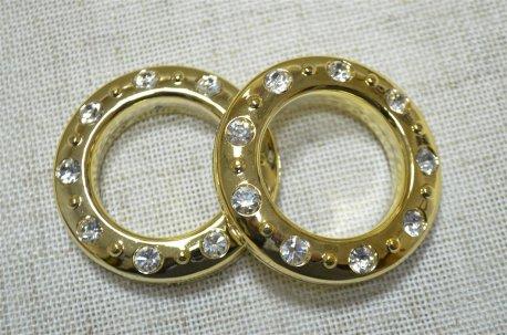 Люверсы круглые со стразами 35 мм, золото блестящее недорого