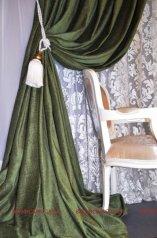 Готовая штора на люверсах из Софта зеленого и оранжевого цветов