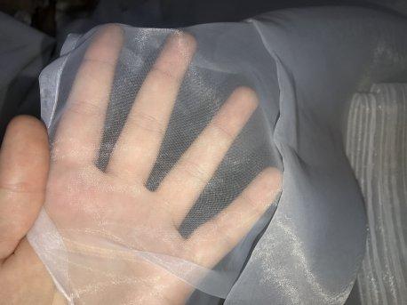 Готовый тюль молочного цвета из прозрачной органзы недорого