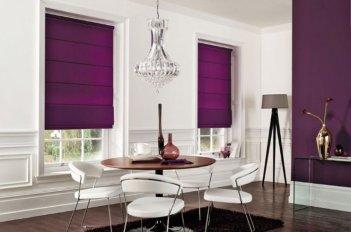 Римские шторы из однотонной лиловой ткани