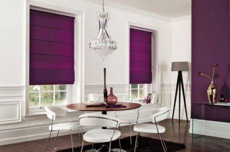 Римские шторы из однотонной лиловой ткани недорого