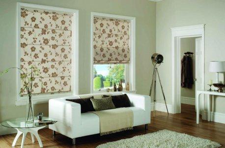 Римские шторы из цветочной ткани недорого