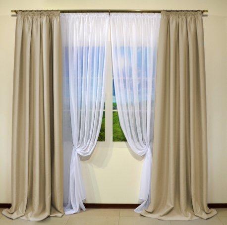 Готовые шторы блекаут CLOUD бежевого цвета BEJ 10326 (2 шт х 1,5 м) недорого