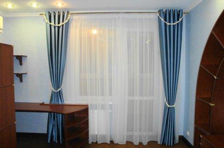 Шторы на люверсах в детской комнате в морском стиле недорого