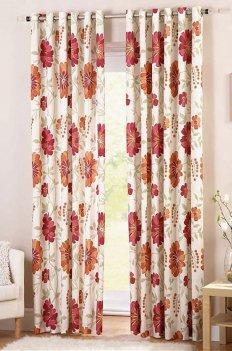 Шторы на люверсах из ткани с цветочным рисунком