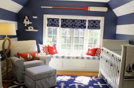Детская комната в морском стиле с римскими шторами недорого