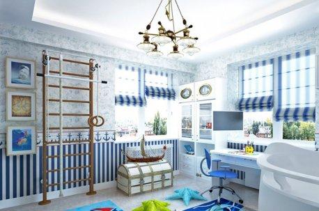 Полосатые римские шторы на окнах в детской комнате недорого