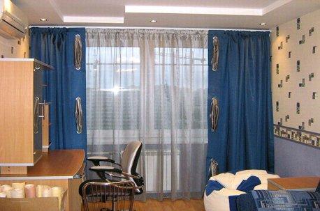 Синие шторы в детской комнате недорого