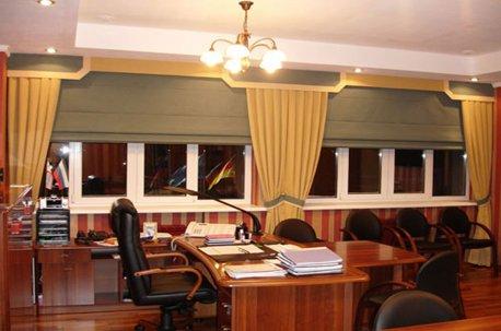 Строгий кабинетный стиль штор  недорого