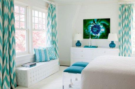 Бирюзовая современная ткань на окне в спальне недорого
