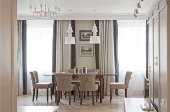 Шторы в гостиной в современном стиле в серо-бежевых тонах