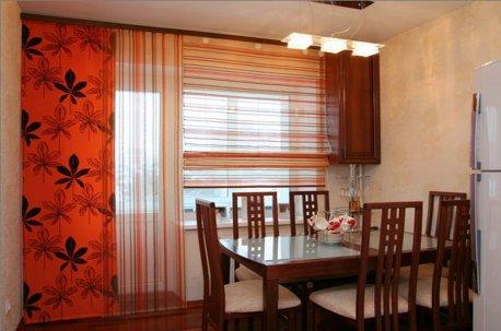 Японские шторы или японские панели смотрятся уместно в столовой в японском стиле недорого