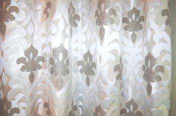 """Портьера """"Месалине"""" серый большой вензель"""
