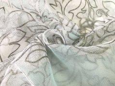 Тюль сеточка натуральная с бирюзовым вензелем