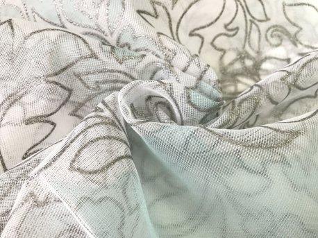 Тюль сеточка натуральная с бирюзовым вензелем недорого