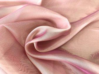 Органза с жемчужным отливом терракотово-розовая