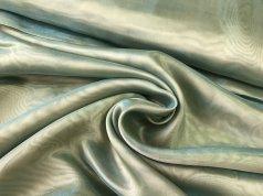 Органза с жемчужным отливом цвета зеленый хаки
