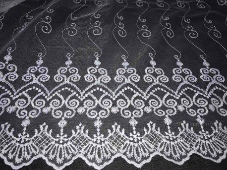 Тюль с вышивкой белого цвета, арт OZT 78058 недорого